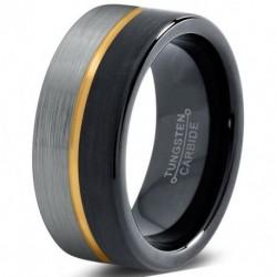 Вольфрамовое Матовое Обручальное (свадебное) кольцо 8мм (мужское, женское) с покрытием из желтого золота, линия по центру