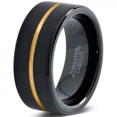 Вольфрамовое Черное Матовое Обручальное (свадебное) кольцо 8мм (мужское, женское) с покрытием из желтого золота