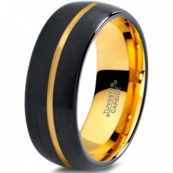 Вольфрамовое Матовое Черное Обручальное (свадебное) кольцо 8мм (мужское, женское) с покрытием из желтого золота