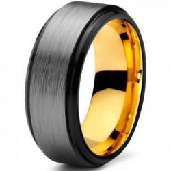 Вольфрамовое Матовое Обручальное (свадебное) кольцо 8мм (мужское, женское) с покрытием из желтого золота