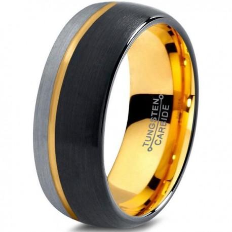 Вольфрамовое Матовое Обручальное (свадебное) кольцо 8мм (мужское, женское), со смещенной линией