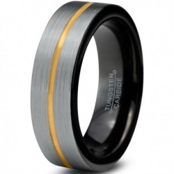 Вольфрамовое Матовое Обручальное (свадебное) кольцо 6мм (мужское, женское) с покрытием из желтого золота, линия по центру