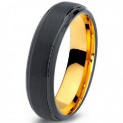 Вольфрамовое Черное Матовое Обручальное (свадебное) кольцо 6мм (мужское, женское) с покрытием из желтого золота