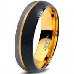 Вольфрамовое Матовое Обручальное (свадебное) кольцо 6мм (мужское, женское), со смещенной линией