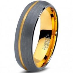 Вольфрамовое Матовое Обручальное (свадебное) кольцо 6мм (мужское, женское) , со смещенной линией