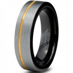 Вольфрамовое Матовое Обручальное (свадебное) кольцо 4мм(мужское, женское) с покрытием из желтого золота, со смещенной линией