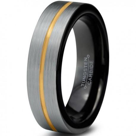 Вольфрамовое Матовое Обручальное (свадебное) кольцо 4мм(мужское, женское) с покрытием из желтого золота, линия по центру