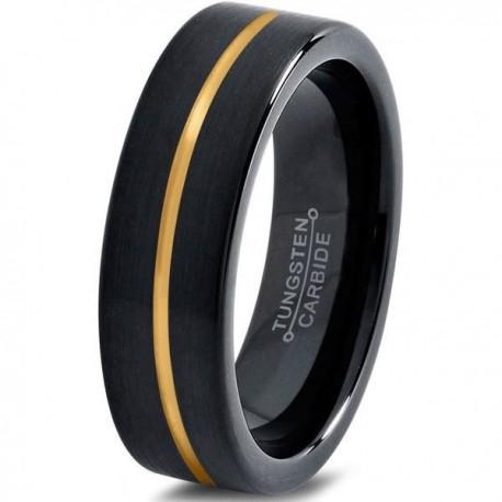 Вольфрамовое Черное Матовое Обручальное (свадебное) кольцо 4мм (мужское, женское) с покрытием из желтого золота