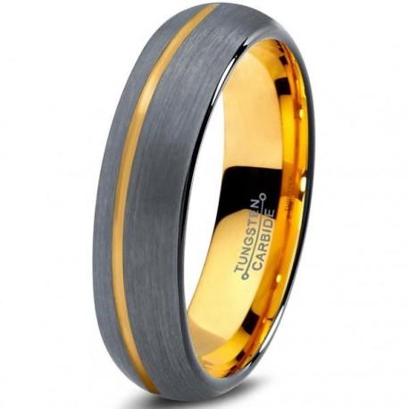 Вольфрамовое Матовое Обручальное (свадебное) кольцо 4мм (мужское, женское) с покрытием из желтого золота, со смещенной линией