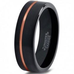 Вольфрамовое Черное Матовое Обручальное (свадебное) кольцо 4мм(мужское, женское) с покрытием 18к розовым золотом