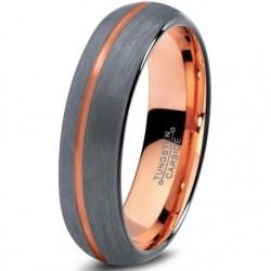 Вольфрамовое Матовое Обручальное (свадебное) кольцо 4мм (мужское, женское) с покрытием 18к розовым золотом, со смещенной линией