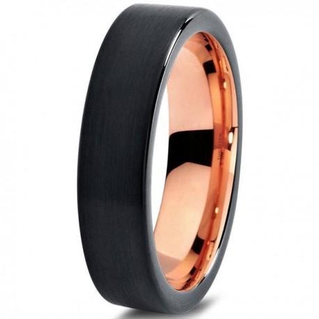 Вольфрамовое Черное Матовое Обручальное (свадебное) кольцо 4мм (мужское, женское) с покрытием 18к розовым золотом