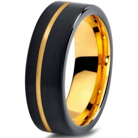 Вольфрамовое Матовое Обручальное (свадебное) кольцо 7мм (мужское, женское) с покрытием из желтого золота