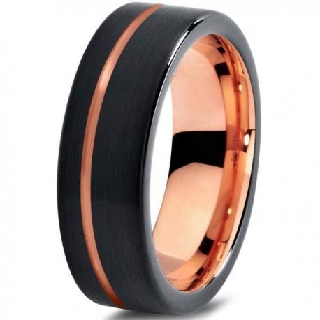 Вольфрамовое Матовое Обручальное (свадебное) кольцо 7мм (мужское, женское) с покрытием 18к розовым золотом