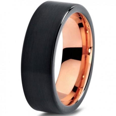 Вольфрамовое Черное Матовое Обручальное (свадебное) кольцо 7мм (мужское, женское) с покрытием 18к розовым золотом