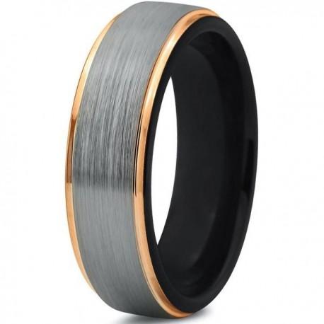 Вольфрамовое Матовое Обручальное (свадебное) кольцо 6мм (мужское, женское) с покрытием из желтого золота