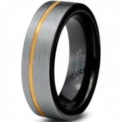 Вольфрамовое Матовое Обручальное (свадебное) кольцо 6мм (мужское, женское) с покрытием из желтого золота, со смещенной линией