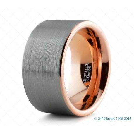 Вольфрамовое Обручальное (свадебное) кольцо с покрытием 18к розовым золотом 12мм
