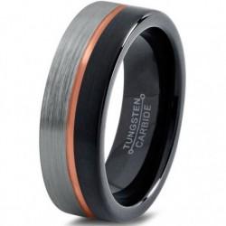 Вольфрамовое Матовое Обручальное (свадебное) кольцо 6мм (мужское, женское) CJ714-B-H-6-A