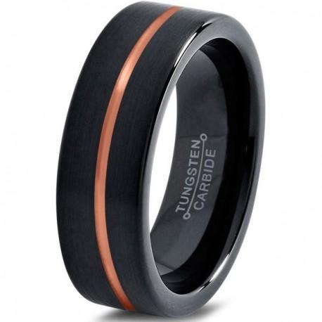 Вольфрамовое Матовое Обручальное (свадебное) кольцо 6мм (мужское, женское) , линия по центру CJ714-6-A