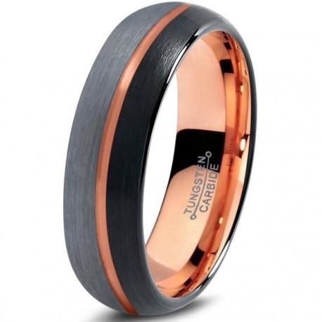 Вольфрамовое Матовое Обручальное (свадебное) кольцо 6мм (мужское, женское) с покрытием 18к розовым золотом , линия по центру