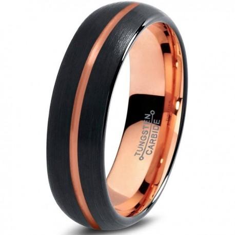 Вольфрамовое Черное Матовое Обручальное (свадебное) кольцо 6мм (мужское, женское) с покрытием 18к розовым золотом