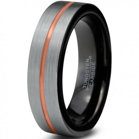 Вольфрамовое матовое свадебное кольцо 4мм (мужское, женское) с черным покрытием внутри, полоса в центре