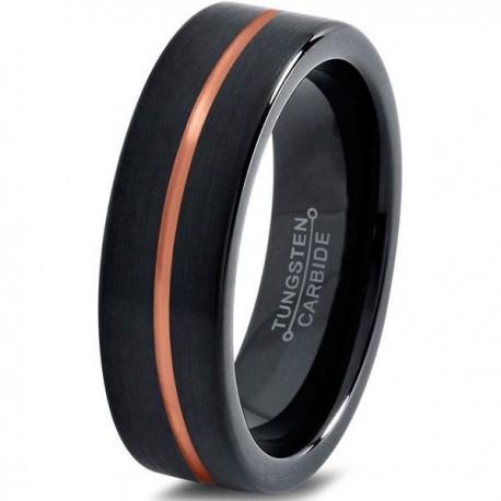 Вольфрамовое Черное Матовое Обручальное (свадебное) кольцо 4мм (мужское, женское), полоса в центре