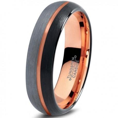 Вольфрамовое Матовое Обручальное (свадебное) кольцо 4мм, с покрытием 18к розовым золотом, полоса в центре
