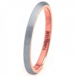 Вольфрамовое Матовое Обручальное (свадебное) кольцо 2мм (мужское, женское) с покрытием 18к розовым золотом