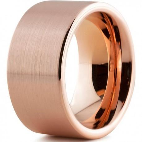 Вольфрамовое Матовое Обручальное (свадебное) кольцо 12мм (мужское, женское) с покрытием 18к розовым золотом