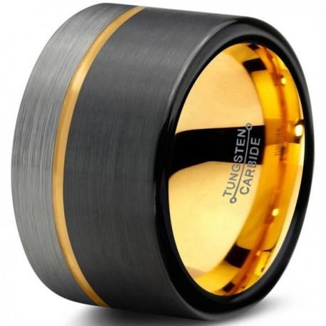 Вольфрамовое Матовое Обручальное (свадебное) кольцо 12мм (мужское, женское) с покрытием из желтого золота