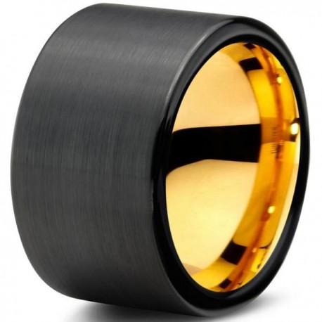 Вольфрамовое Черное Матовое Обручальное (свадебное) кольцо 12мм (мужское, женское) с покрытием из желтого золота