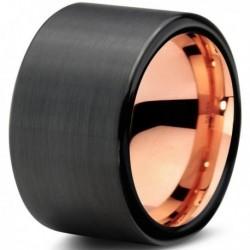 Вольфрамовое Черное Матовое Обручальное (свадебное) кольцо 12мм (мужское, женское) с покрытием 18к розовым золотом