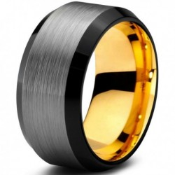 Вольфрамовое Матовое Обручальное (свадебное) кольцо 10мм (мужское, женское) с покрытием из желтого золота