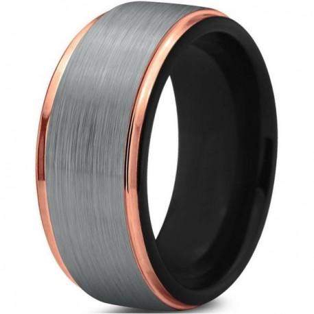 Вольфрамовое Матовое Обручальное (свадебное) кольцо 10мм (мужское, женское) с покрытием 18к розовым золотом