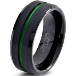 Вольфрамовое Матовое Обручальное (свадебное) кольцо 8мм (мужское, женское) черное с зеленой линией по центру