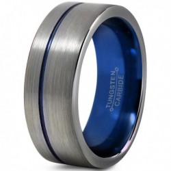 Вольфрамовое Матовое Обручальное (свадебное) кольцо 8мм (мужское, женское) со смещенной синей линией