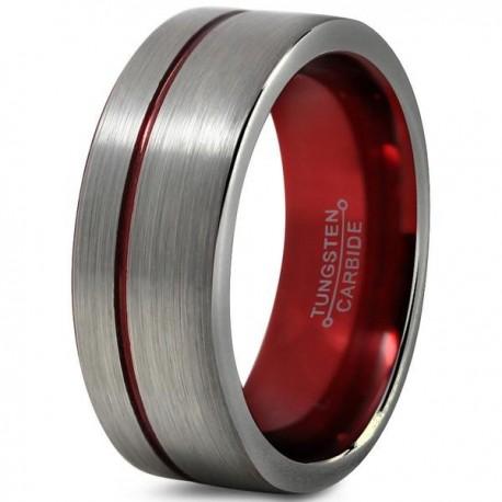 Вольфрамовое Матовое Обручальное (свадебное) кольцо 8мм (мужское, женское) со смещенной красной линией