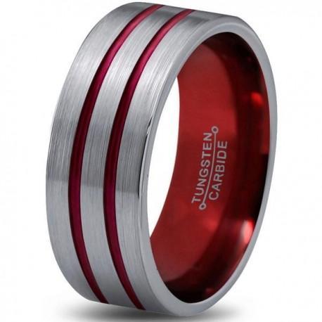 Вольфрамовое Матовое Обручальное (свадебное) кольцо 8мм (мужское, женское) с двойной красной линией