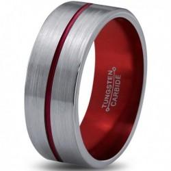 Вольфрамовое Матовое Обручальное (свадебное) кольцо 8мм (мужское, женское) с красной линией по центру