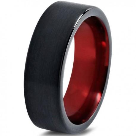 Вольфрамовое Матовое Обручальное (свадебное) кольцо 8мм (мужское, женское) черно красное