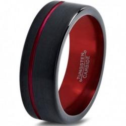 Вольфрамовое Матовое Обручальное (свадебное) кольцо 8мм (мужское, женское) черно красное со смещенной линией