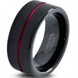 Вольфрамовое Матовое Обручальное (свадебное) кольцо 8мм (мужское, женское) черное с красной линией по центру
