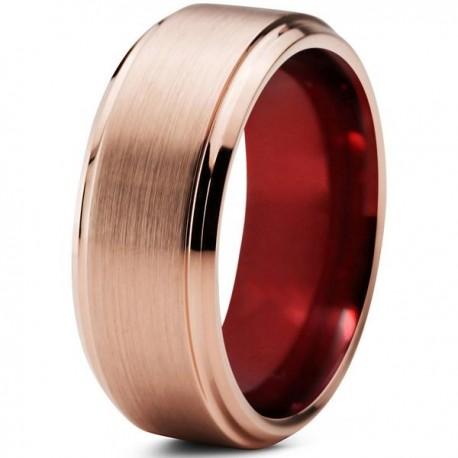 Вольфрамовое Матовое Обручальное (свадебное) кольцо 8мм (мужское, женское) с покрытием 18к розовым золотом , красное внутри