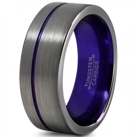 Вольфрамовое Матовое Обручальное (свадебное) кольцо 8мм (мужское, женское) со смещенной фиолетовой линией