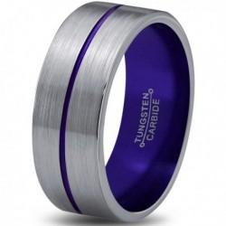 Вольфрамовое Матовое Обручальное (свадебное) кольцо 8мм (мужское, женское) с фиолетовой линией по центру
