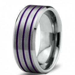 Вольфрамовое Матовое Обручальное (свадебное) кольцо 8мм (мужское, женское) с тройной фиолетовой линией