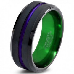 Вольфрамовое Черное Матовое Обручальное (свадебное) кольцо 8мм (мужское, женское) с фиолетовой линией по центру, зеленое внутри