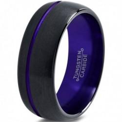 Вольфрамовое Матовое Обручальное (свадебное) кольцо 8мм (мужское, женское) черно фиолетовое со смещенной линией